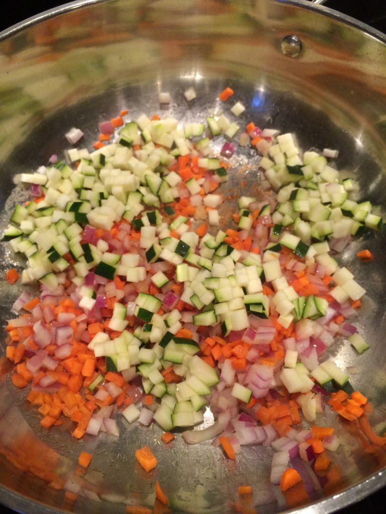 Korean Fried Rice - Frying zucchini