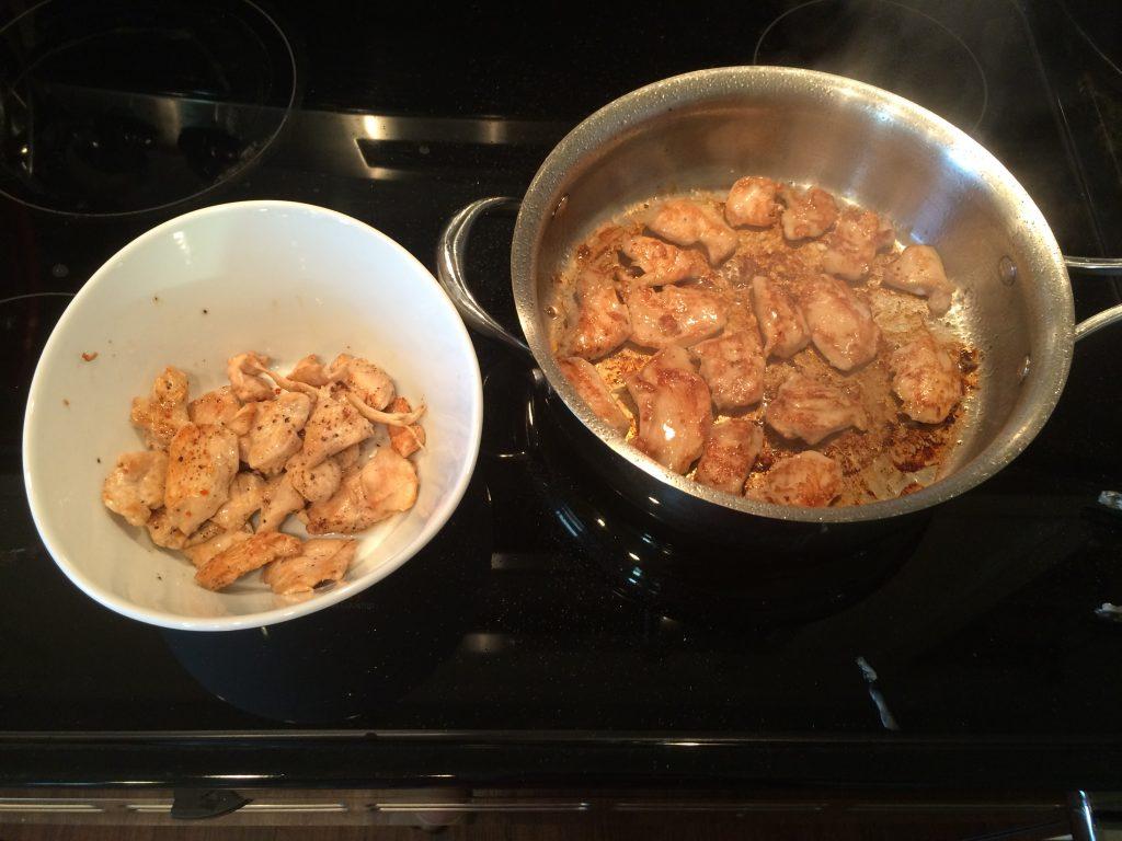 Chicken & Broccoli Noodle Stir Fry - Saute chicken in batches