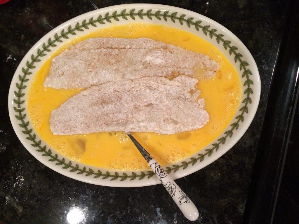Fish Katsu - Dredging fish in egg