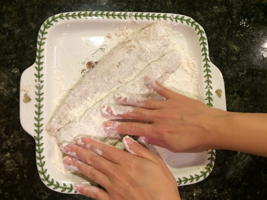 Fish Katsu - Pressing the flour