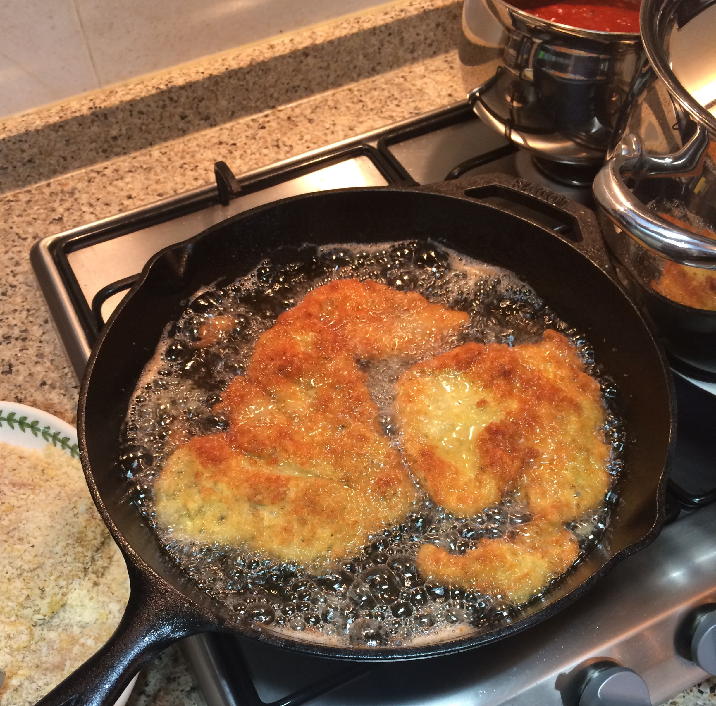 Chicken Katsu - Frying the chicken