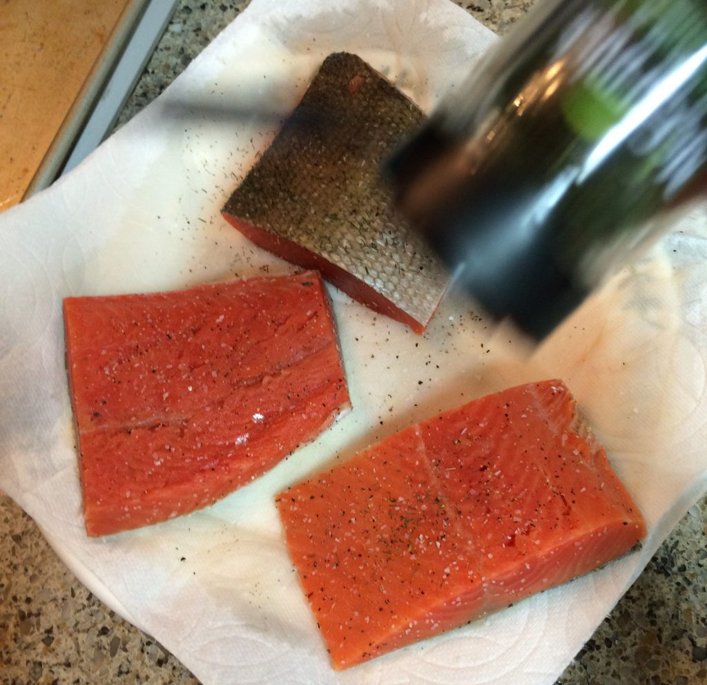 Honey Mustard Salmon - Seasoning salmon with dill