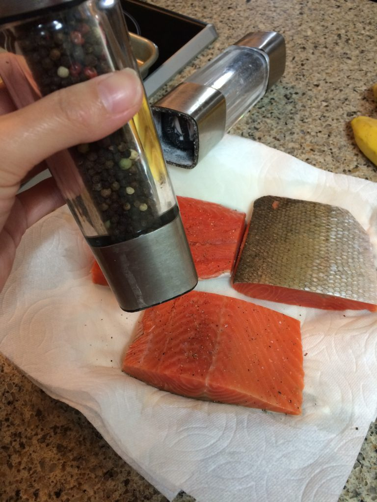 Honey Mustard Salmon - Seasoning the salmon