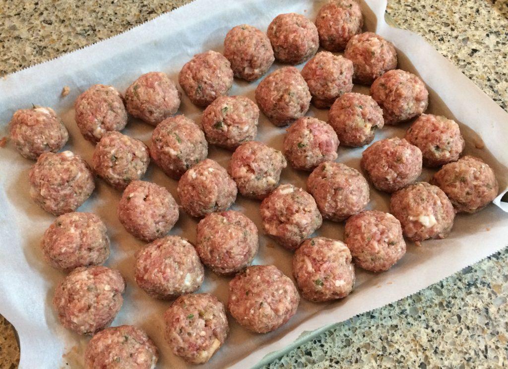 Spaghetti Meatballs - Preparing meatballs for baking