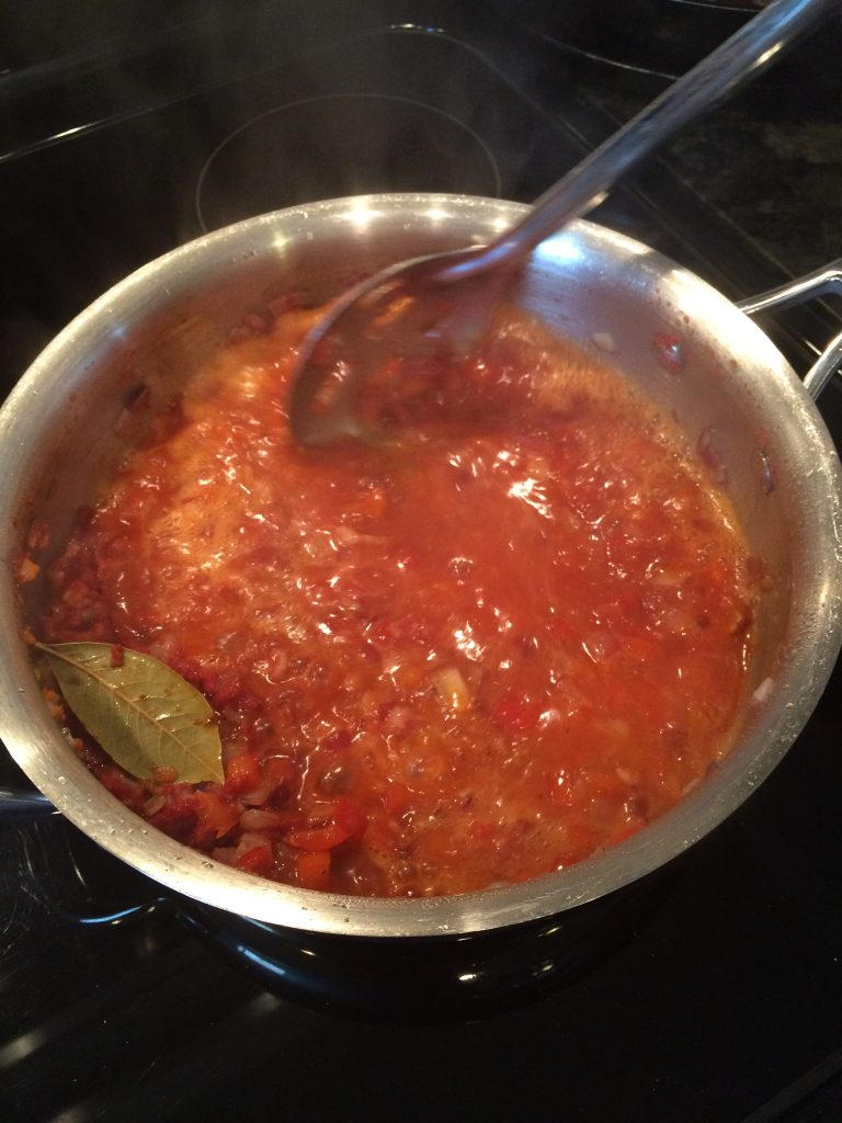 Campanelle Red Pepper Cream - Adding crushed tomatoes to make the sauce