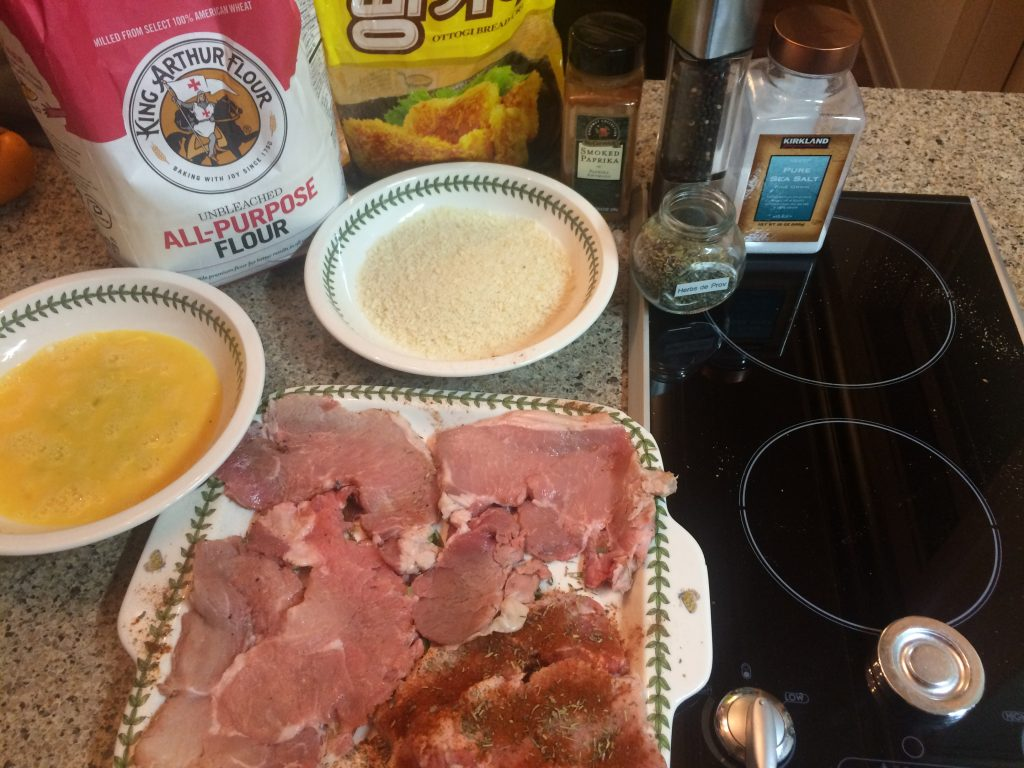 Pork Katsu - Gathering the ingredients