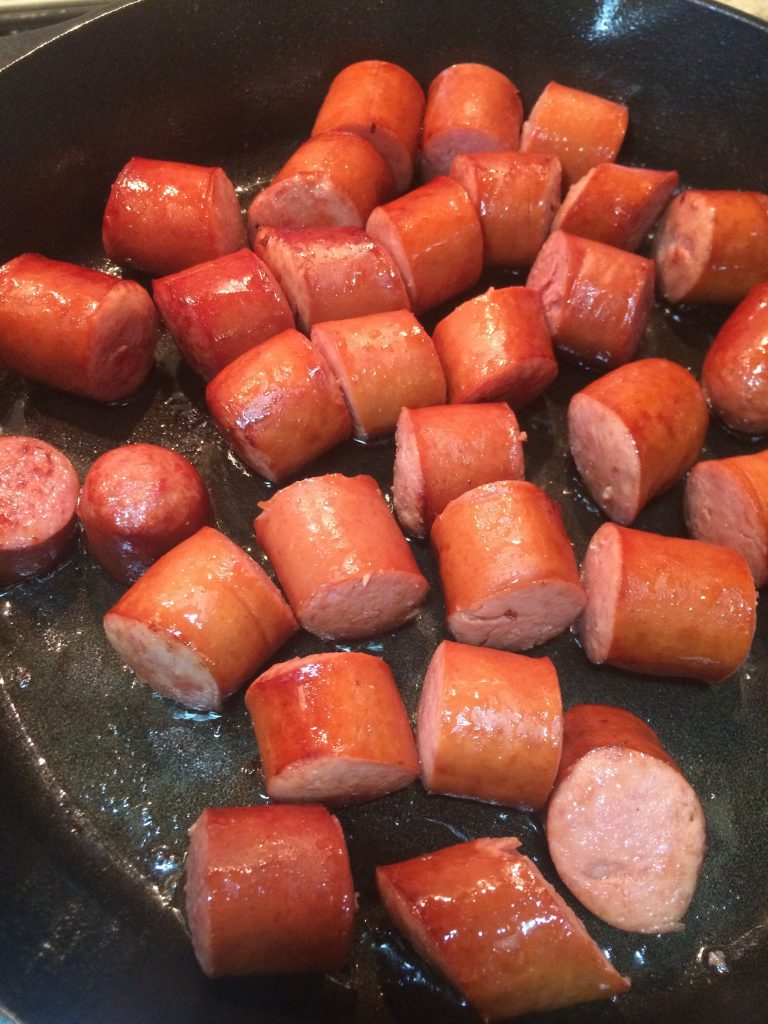Sausage Cabbage Stew - Frying the sausage