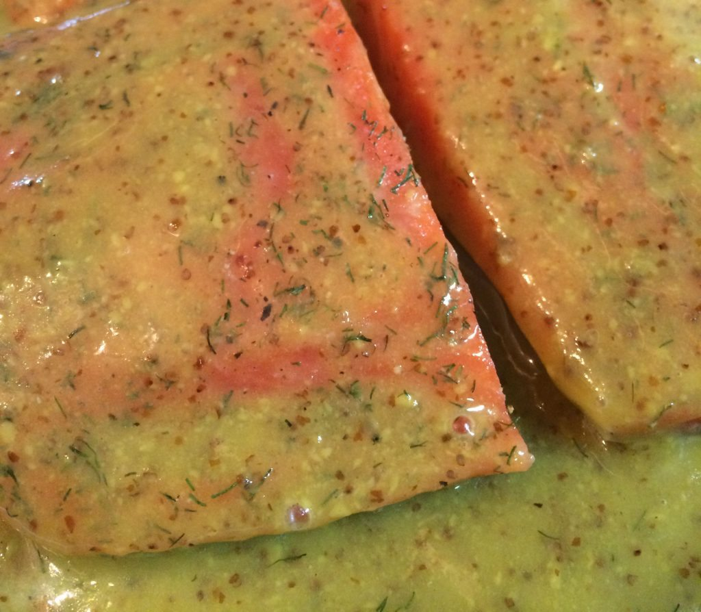 Honey Mustard Salmon - Preparing salmon with sauce