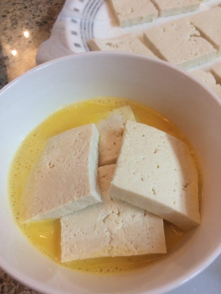 Dooboo Boochim - Bathe the tofu in egg