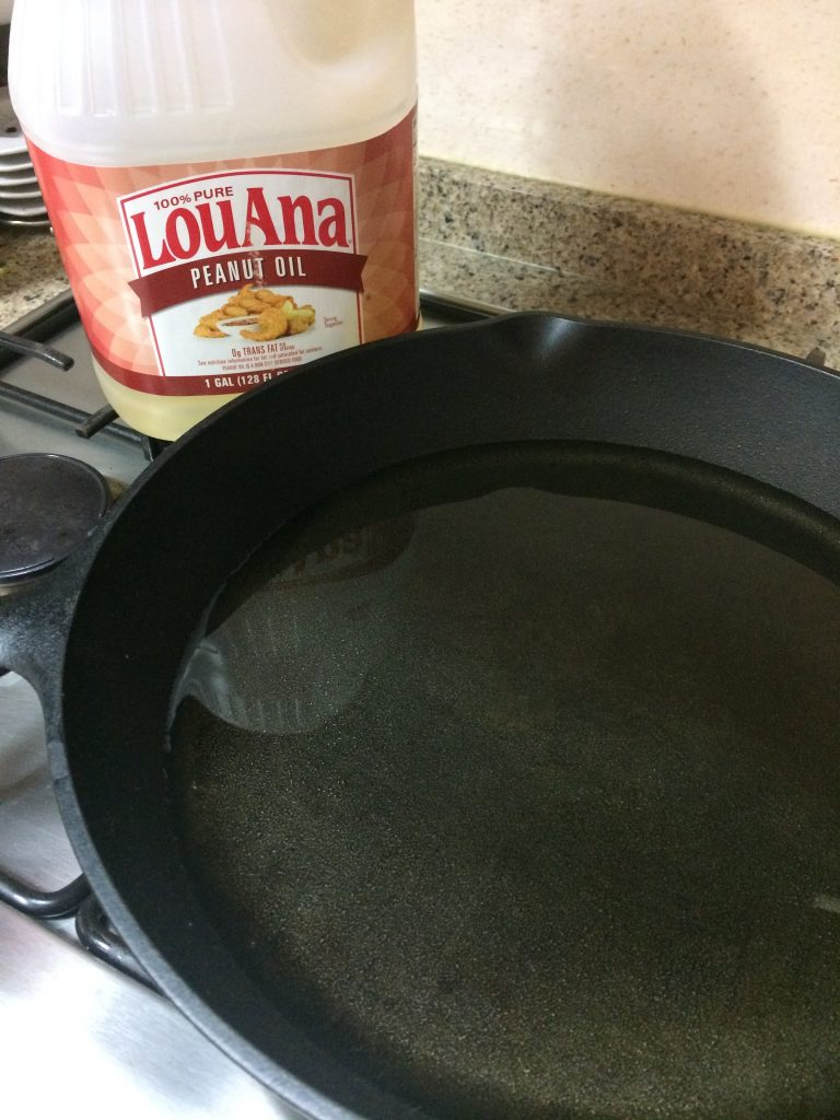 Hawaiian Fish Taco - Preheating frying pan