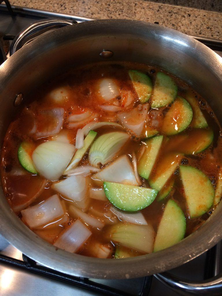 Gochujang Jjigae - Adding zucchini