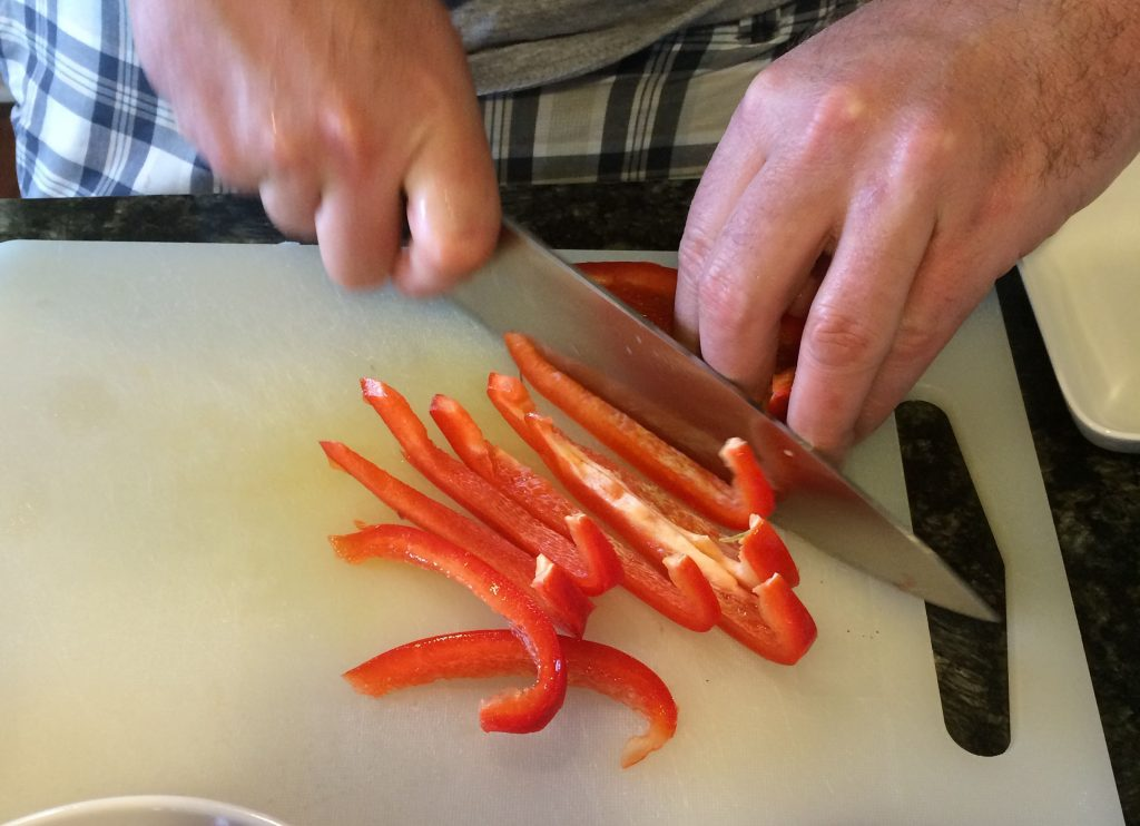 Southwestern Coleslaw - Slicing bell pepper