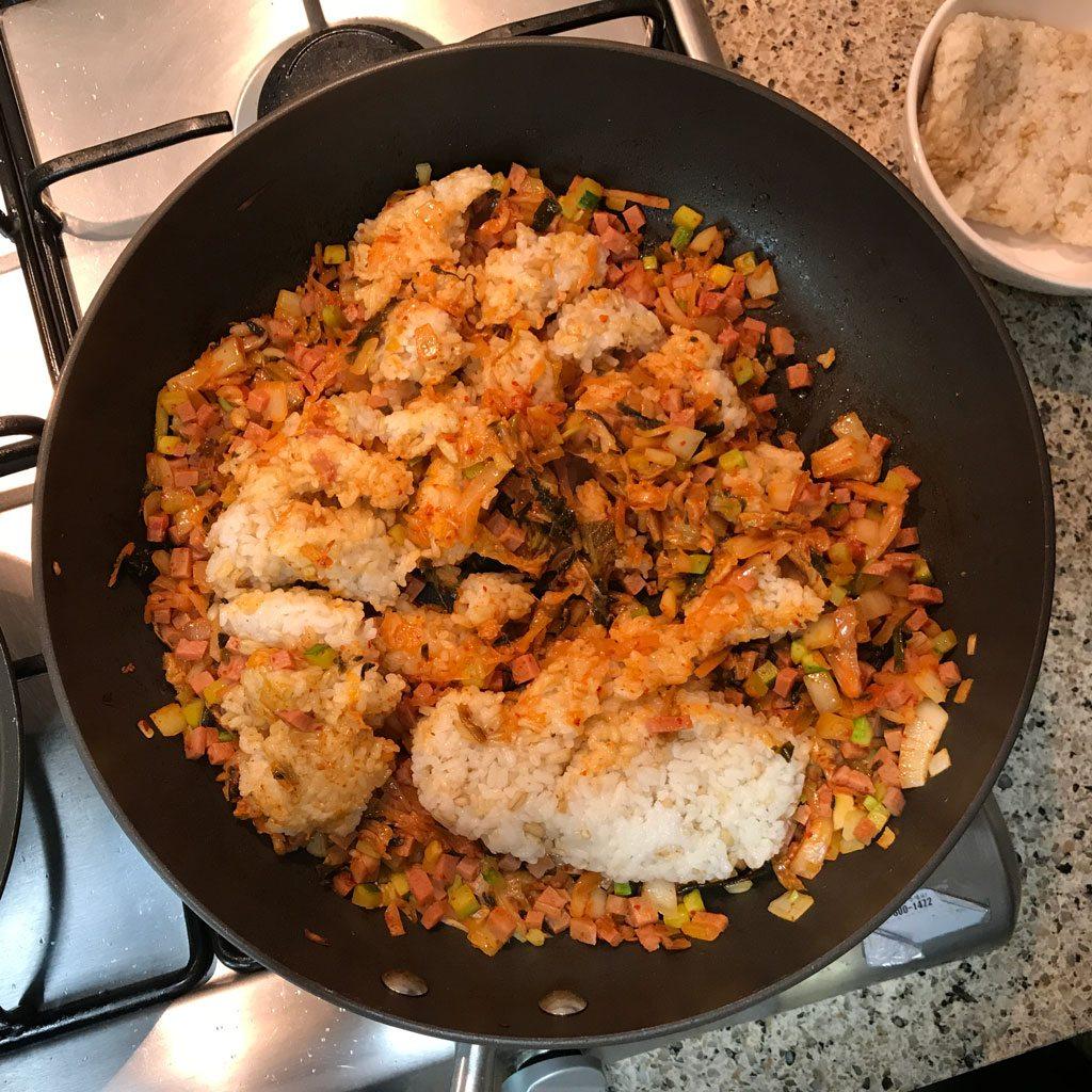 Kimchi Fried Rice - Adding rice