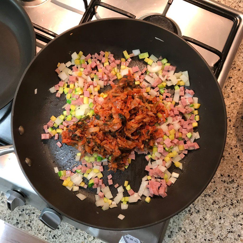 Kimchi Fried Rice - Frying Kimchi